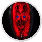 Devil With Sapphire Eyes Round Beach Towel