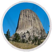 Devils Tower Wyoming -2 Round Beach Towel