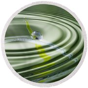 Dew Bead On The Blade Of Grass Round Beach Towel