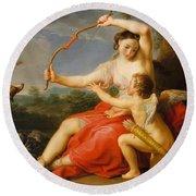 Diana And Cupid Round Beach Towel