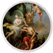 Diana And Endymion Round Beach Towel