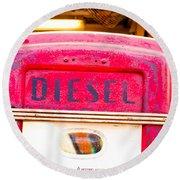 Diesel Pump Round Beach Towel by Tom Gowanlock