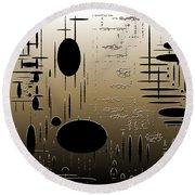 Digital Dimensions In Brown Series Image 2 Round Beach Towel