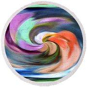 Digital Swirl Of Color 2001 Round Beach Towel