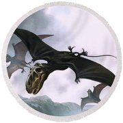 Dimorphodon Round Beach Towel by William Francis Phillipps