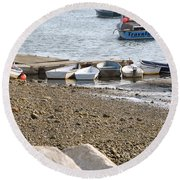Dinghies At Green Harbor Round Beach Towel