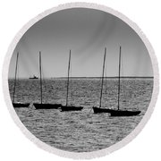 Dinghies Moored Off Of Leigh On Sea Essex Round Beach Towel