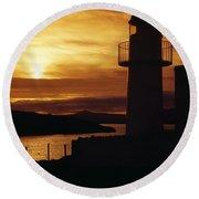 Dingle Lighthouse, Dingle Peninsula Round Beach Towel