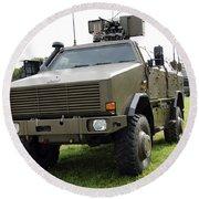 Dingo II Vehicle Of The Belgian Army Round Beach Towel