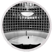 Dining In Black And White Round Beach Towel