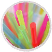 Drinking Straws Round Beach Towel