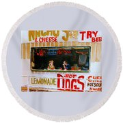 Dinner For Two Atlantic City On The Boardwalk   Round Beach Towel