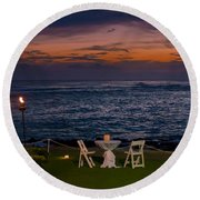 Dinner Setting In Paradise Round Beach Towel