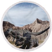 Dino's In The Badlands Round Beach Towel