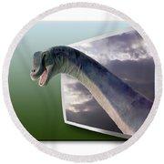 Dinosaur - Oof Round Beach Towel