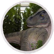 Dinosaur Inside The Conservatory Round Beach Towel