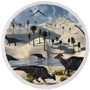 Dinosaurs Gather At A Life Saving Oasis Round Beach Towel