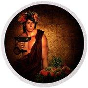 Dionysus Round Beach Towel by Lourry Legarde