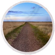 Dirt Road Through The Prairie Round Beach Towel
