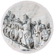 Discovery Monument Lisbon Portugal Round Beach Towel