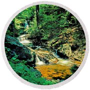 Distant Ozone Falls And Rapids - Summer Round Beach Towel