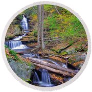 Distant Ozone Falls And Rapids In Autumn Round Beach Towel