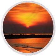 Distant Sun Round Beach Towel