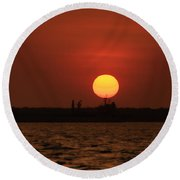 Distant Sunset Round Beach Towel