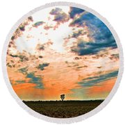 Distant Tree Round Beach Towel