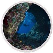 Diver At Boo Windows In Raja Ampat Round Beach Towel