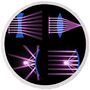 Diverging Converging Lenses And Mirrors Round Beach Towel