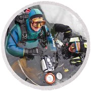 Diving In The Ice Round Beach Towel by Heiko Koehrer-Wagner