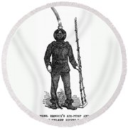 Diving Suit, 1855 Round Beach Towel