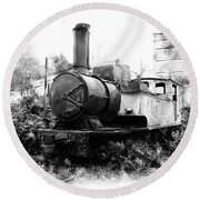 Do-00508 Mar Mikhael Train Bw Round Beach Towel