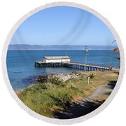 Dock At Point Reyes Calfornia . 7d16069 Round Beach Towel