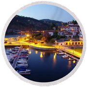 Dock In Douro River Round Beach Towel