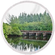 Dock On The North Fork River Round Beach Towel