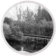 Dock On The River In Black And White Round Beach Towel