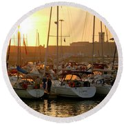 Docked Yachts Round Beach Towel