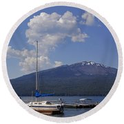 Docks At Diamond Lake Round Beach Towel
