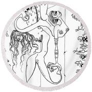 Doctor Vultura's Proportional Sky-fish Daughters  Round Beach Towel by Kelly Jade King