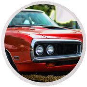 Dodge Super Bee Classic Red Round Beach Towel by Paul Ward