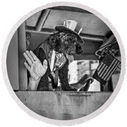 Dog On The Campaign Trail Round Beach Towel