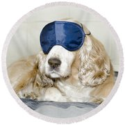 Dog With A Sleep Mask Round Beach Towel
