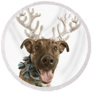 Dog With Antlers Round Beach Towel