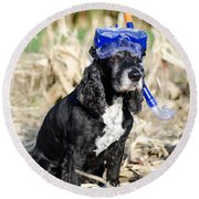 Dog With Diving Mask Round Beach Towel