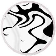 Doggy Style Black On White Round Beach Towel