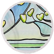 Dogwood Stained Glass I Round Beach Towel