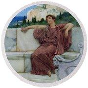 Dolce Far Niente Round Beach Towel by Sir Lawrence Alma-Tadema