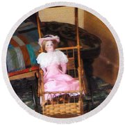 Doll In Carriage Round Beach Towel